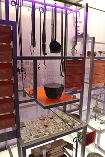 Equipment used by Faraday to make glass on display at the Royal Institution in London