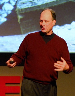 Giving a presentation on the importance of exploring the oceans at TED 2008
