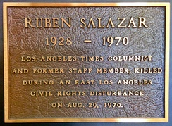 A plaque honoring Ruben Salazar mounted in the Globe Lobby of the Los Angeles Times Building in downtown Los Angeles.