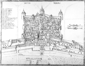 The Golden Gate and the Castle of Seven Towers in 1685. The dense settlement inside the walls of the fortress is evident, as well as the still-preserved outer gate of the Golden Gate, decorated with relief panels.