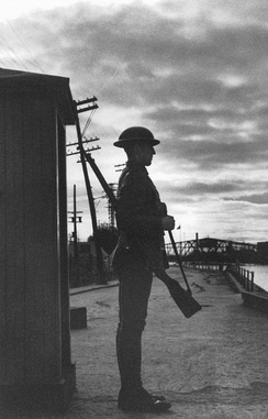 Soldier of the Victoria Rifles, guarding the Lachine Canal, Montreal, Quebec, Canada