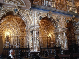 Golden Baroque inner decoration of the Franciscan church of Salvador (first half of the 18th century).