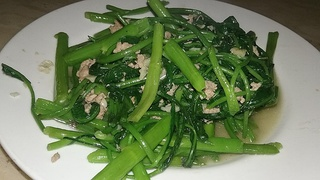 Stir-fried water convolvulus (Ipomoea aquatica)