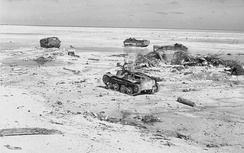 Disabled LVTs and a Type 95 light tank on Tarawa.