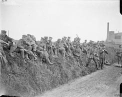 German prisoners being guarded by Australian troops, 23 April 1918.