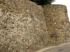 A surviving fragment of the Roman Town Wall in East Hill.