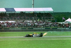 Damon Hill was leading when his engine blew on lap 42.