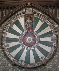Round table, made by Edward, now hung in Winchester Castle. It bears the names of various knights of King Arthur's court.