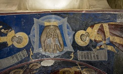 Mankind in God's hand. Fresco from the entrance in the west wall. Painted 1410-1418