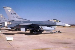 F-16C Block 42J Fighting Falcon, 90-754, of the 17th Fighter Squadron.  After the squadron was inactivated on 31 December 1993, this aircraft was transferred to Luke AFB, Arizona where it has been used in F-16 pilot training, today being assigned to the 310th Fighter Squadron, 56th Operations Group.