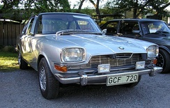 A 1968 BMW Glas 3000GT. Notice the BMW logo in the front, but that it otherwise doesn't look like a BMW.