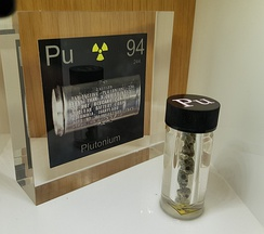 Sample of plutonium metal displayed at the Questacon museum