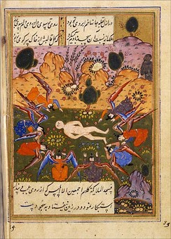 Angels bow before the newly created Adam, but Iblis (top right on the picture) refuses to prostrate