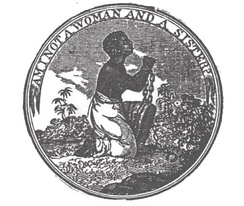 "1830s image of a slave woman saying ""Am I Not a Woman and a Sister?"""