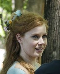 Casual head shot of Amy Adams filming Enchanted
