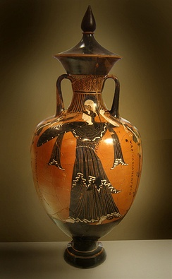 Athena on a Panathenic amphora (National Archaeological Museum of Athens)