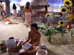 Pottery making in diorama at museum at Angel