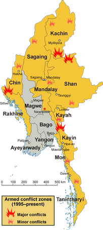 Map of conflict zones in Myanmar. States and regions affected by fighting during and after 1995 are highlighted in yellow.