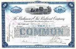 Stock certificate for ten shares of the Baltimore and Ohio Railroad Company