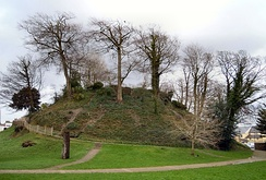 Barnstaple Castle Mound, 11th century, now next to the public library and car park