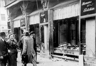 Kristallnacht of November 1938, smashed window front of Jewish shop