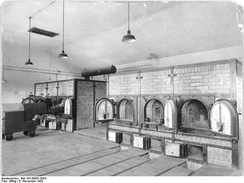 The crematorium at Buchenwald, showing the two, triple-muffle ovens, 1959