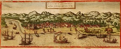 Image of Kozhikode, India from Georg Braun and Frans Hogenberg's atlas Civitates Orbis terrarum, 1572