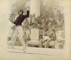 Fencing before King George, during the 1896 Summer Olympics
