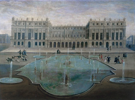 The garden façade in 1674. The terrace was later replaced by the Hall of Mirrors