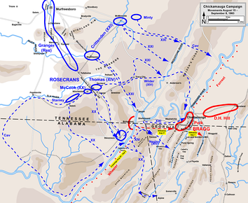 Initial movements in the Chickamauga Campaign, August 15 – September 8, 1863   Confederate   Union