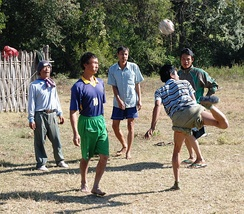 Men playing chinlone