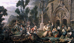 Peasants and commoners (insurgent royalists or Chouans) in the Vendée, Maine, the south of Normandy or the eastern part of Brittany defending a Catholic church. Artist unknown