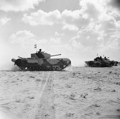 Churchill tanks of Kingforce of the 1st Armoured Division during the battle, 5 November 1942