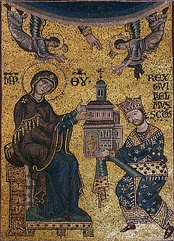 Вильгельм II преподносит собор Монреале в дар Богородице— мозаика над архиепископским троном в соборе
