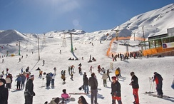 Skiers at the Dizin Ski Resort