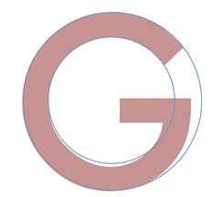 The letter G from the Neufville digitisation of Futura, compared to perfect circles.
