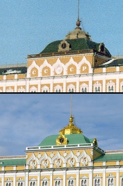 Five double-headed Russian coat-of-arms eagles (below) substituting the former state emblem of the Soviet Union and the CCCP letters (above) in the facade of the Grand Kremlin Palace after the dissolution of the Soviet Union