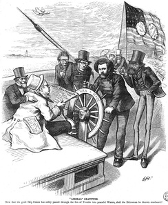 A Thomas Nast cartoon depicting Grant steering a ship and being challenged by opponents during the presidential election of 1872.