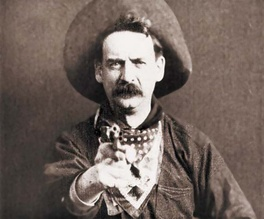 "Justus D. Barnes in Western apparel, as ""Bronco Billy Anderson,"" from the silent film The Great Train Robbery (1903), the second Western film and the first one shot in the United States."