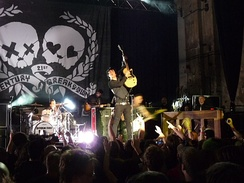 Green Day performing during a secret show at the Kesselhaus in Berlin on May 7, 2009.