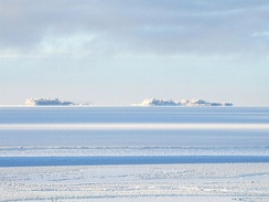 The Hermanni islands. A wintery view of a group of small islands in the Bothnian Bay near Oulu, Finland