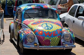 A hippie-painted Volkswagen Beetle