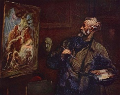 Honoré Daumier (1808–1879), The Painter, oil on panel with visible brushstrokes