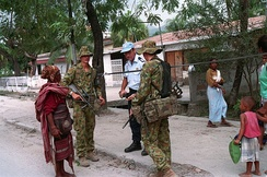 Australian soldiers on patrol as part of the UN's International Force for East Timor in 2000.