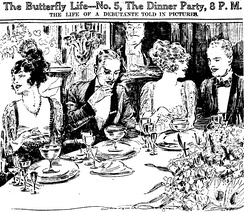 A formal dinner party as sketched in 1920 by reporter-artist Marguerite Martyn