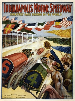 1909 poster advertising the speedway
