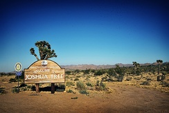 Joshua Tree Welcome sign off Highway 62