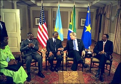 Kabila in 2002, with Thabo Mbeki, George W. Bush, and Paul Kagame.
