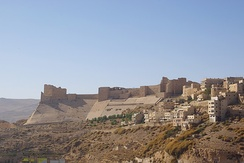 The Karak Castle (c. 12th century AD) built by the Crusaders, and later expanded under the Muslim Ayyubids and Mamluks