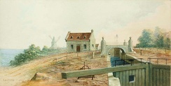 View of Lachine Canal in 1826, a year after it opened. It bypassed the rapids west of the city, linking Montreal with other continental markets.